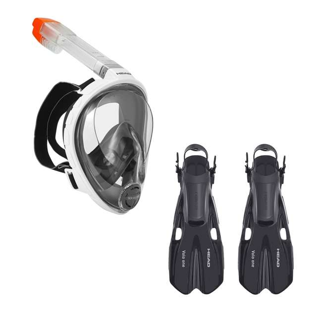 496325-WHBKS/M + 480203-SFBKML Head Sea Vu Dry Full-Face Adult S/M Snorkel Swim Mask & M/L Fins