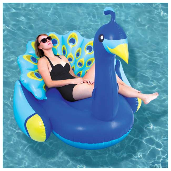 90705 + 56285EP Swimline Inflatable Peacock & Giant Inflatabull Swimming Pool Float Ride On 3