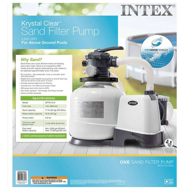 26647EG + 28003E Intex 2800 GPH Pool Sand Filter Pump (2 Pack) w/ Cleaning Kit for 800 GPH min. 5