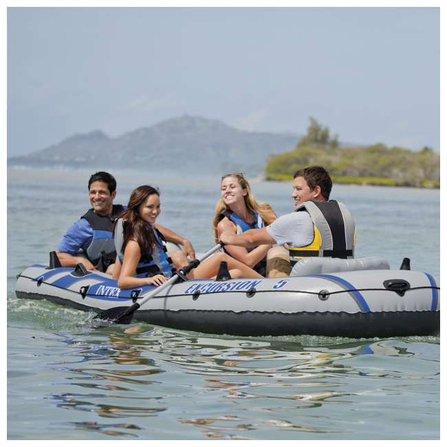 68325EP-U-A Intex Excursion 5 Inflatable Rafting/Fishing Dinghy Boat Set  (Open Box) (2 Pack) 1