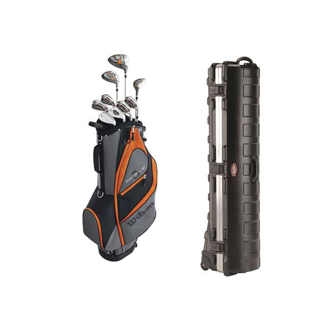 WGGC58300 + 2SKB-1649W Wilson Teen Right Handed Golf Set, Orange & Wheeled Travel Case
