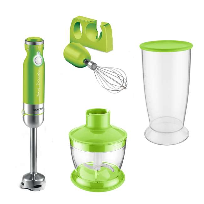 SHB4362GR-NAA1 Sencor Stick Hand Immersion Blender Set with Beaker, Chopper, & Whisk, Green