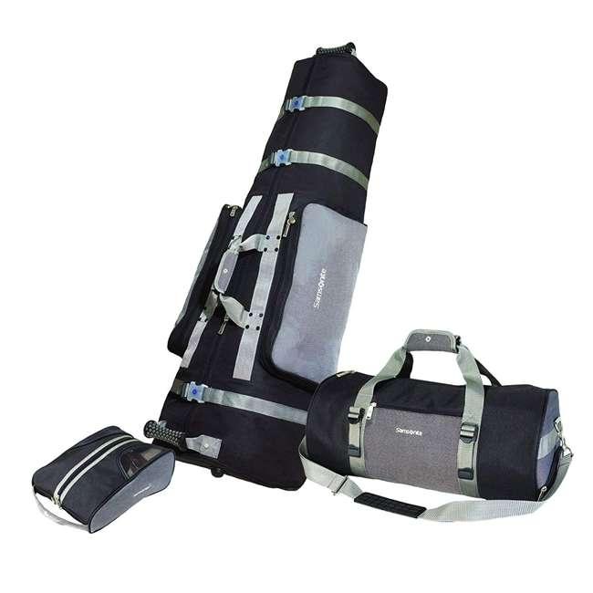 700SLV Samsonite 3 Piece Soft Wheeled Golf Bag Travel Set Cover w/ Shoe Bag & Duffel