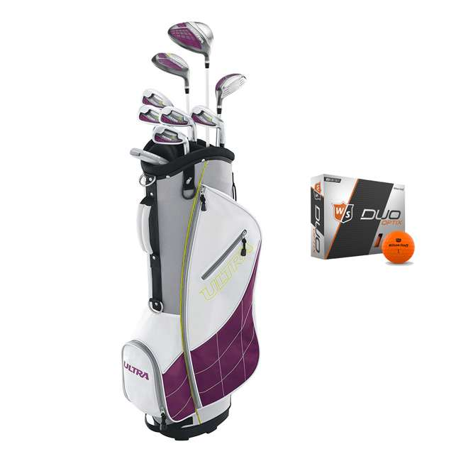 WGGC43400 + WGWP40800 Wilson Ultra Ladies Right-Handed Super Long Golf Club Bag Set & Balls