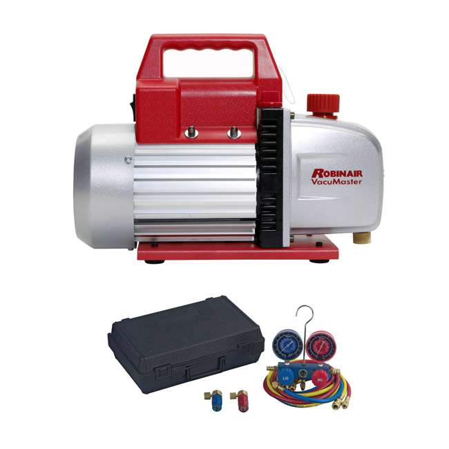 ROB-15500 + RB-48510 Robinair Heavy Duty 1/3 HP 2 Stage Vacuum Pump with Refrigerant Manifold Set