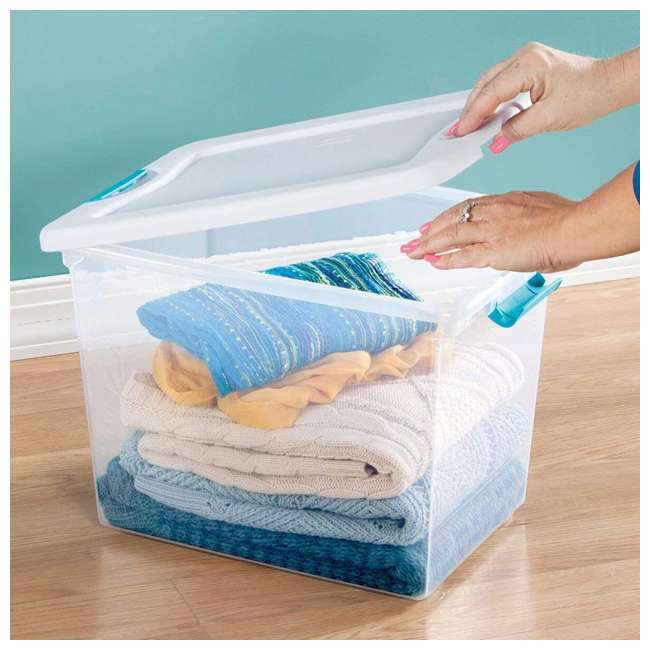 6 x 14958006 Sterilite 14958006 25-Quart Capacity Clear Storage Tote with Secure Latch Handles (6 Pack) 2