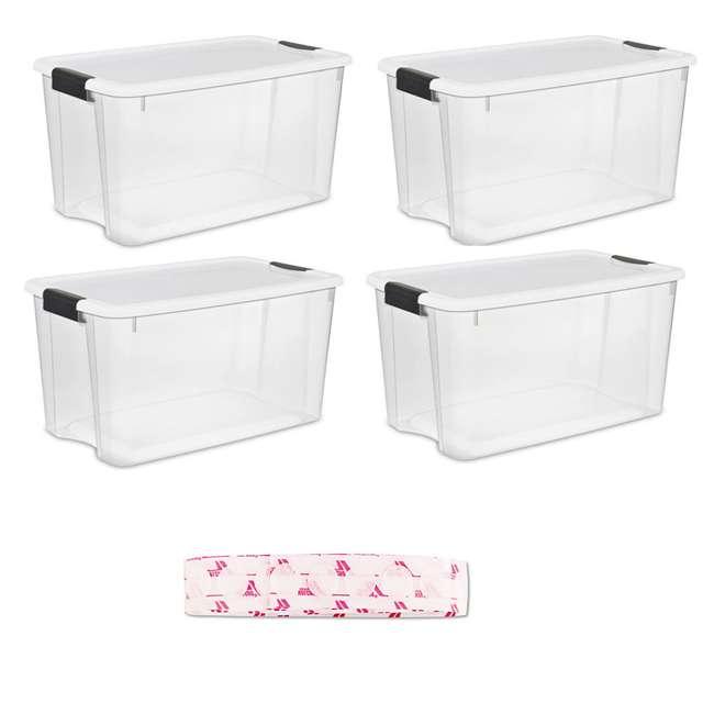 4 x 19889804 + 91302 Sterilite 70 Quart Box w/ Lid (4 Pack) Bundled with Velcro Fasteners (75 Pack)