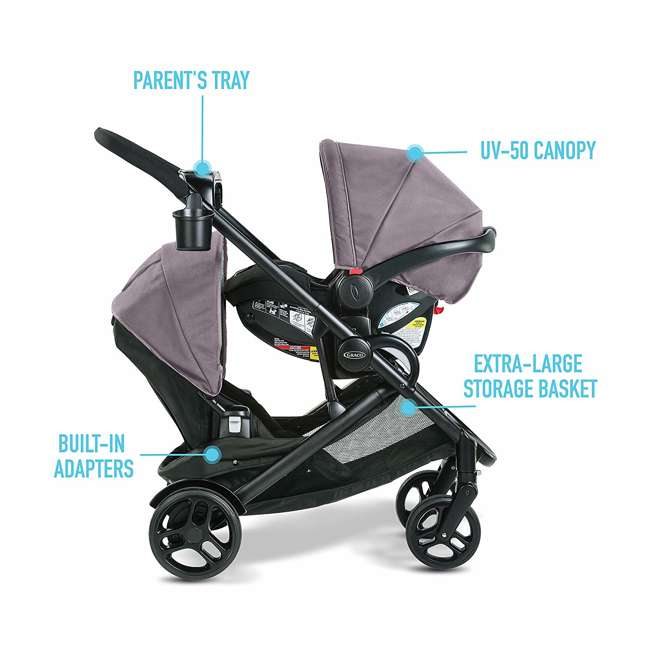 2080526 Graco Modes2Grow Baby Stroller & SnugRide Infant Car Seat Travel System, Kinley 6