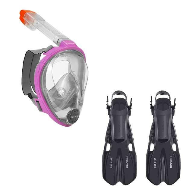 496325-PKGRS/M + 480203-SFBKML Head Sea VU Dry Full-Face Anti-Fog Adult S/M Snorkel Swim Mask & M/L Fins
