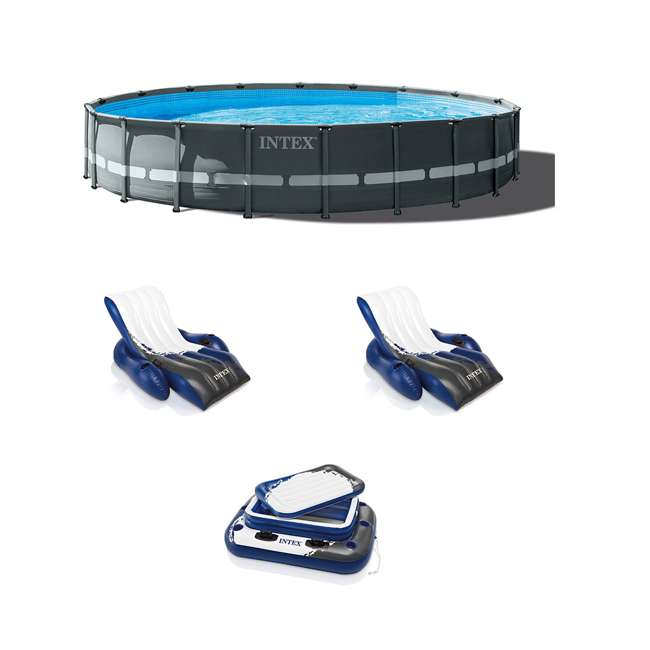 26333EH + 2 x 58868EP + 58821EP Intex Pool Set w/ Inflatable Lounger Chair (2) & Cooler