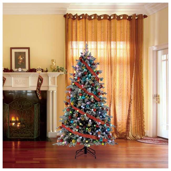 TG76P3B07P05 Home Heritage Victoria 7.5 Foot Flocked Christmas Tree with Color Blast Lights 4