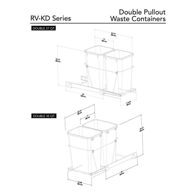 RV-15KD-17C S-30 Rev A Shelf Double 27 Qt Sliding Pull Out Waste Bin Container (2 Pack) 5