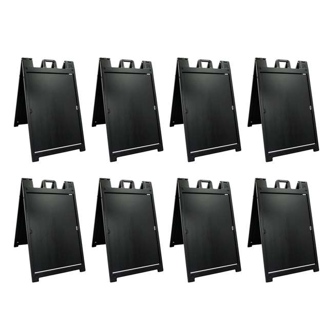 8 x 140NSBK Plasticade Deluxe Signicade Double-Sided Sign Stand, Black (8 Pack)