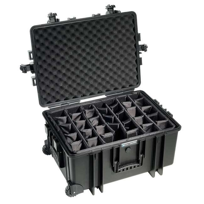 6800/B/RPD + CS/3000 B&W 70.9L Plastic Waterproof Case w/ Wheels, RPD Insert & Shoulder Strap, Black 3