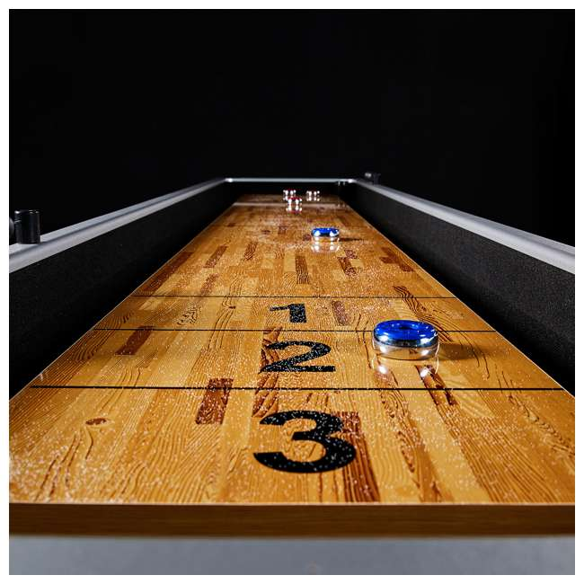ARC108_127P-U-D Lancaster 9 Foot Standard Shuffleboard Game Table with Pucks and Wax (Damaged) 5