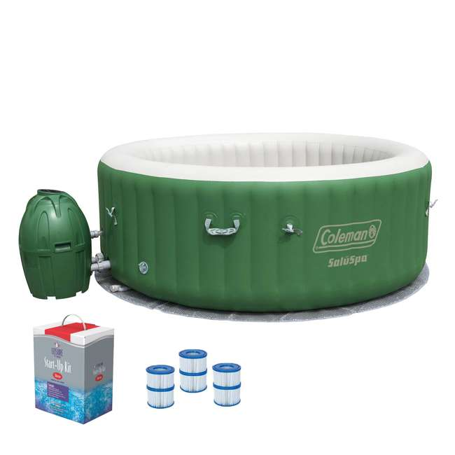 90363E-BW + 3 x 90352E-BW + 45520A Coleman SaluSpa 6-Person Inflatable Spa + Filter Cartridges + Chlorine Kit