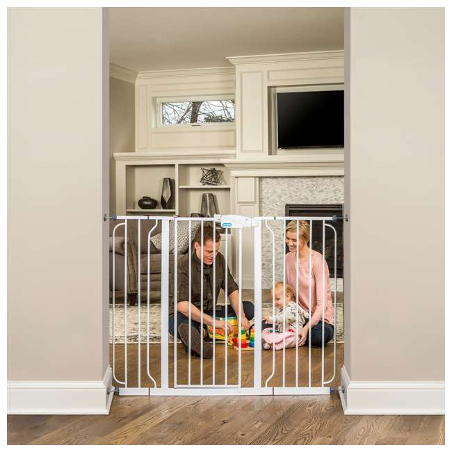 1154DS-U-A Regalo Metal Frame Adjustable WideSpan Extra Tall Baby Gate, White (Open Box) 3