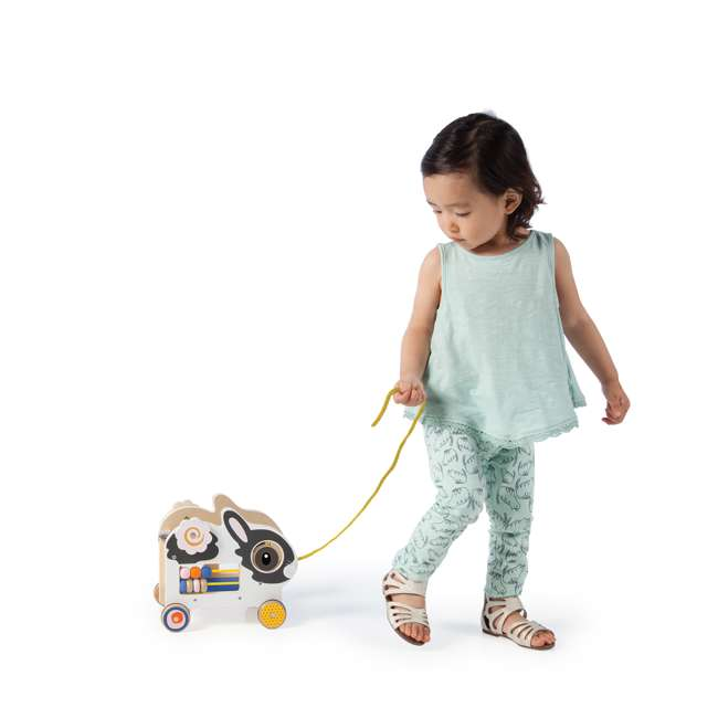 214240 Manhattan My Pal Clover Wooden Rabbit Pull Along Preschool Toddler Activity Toy 1