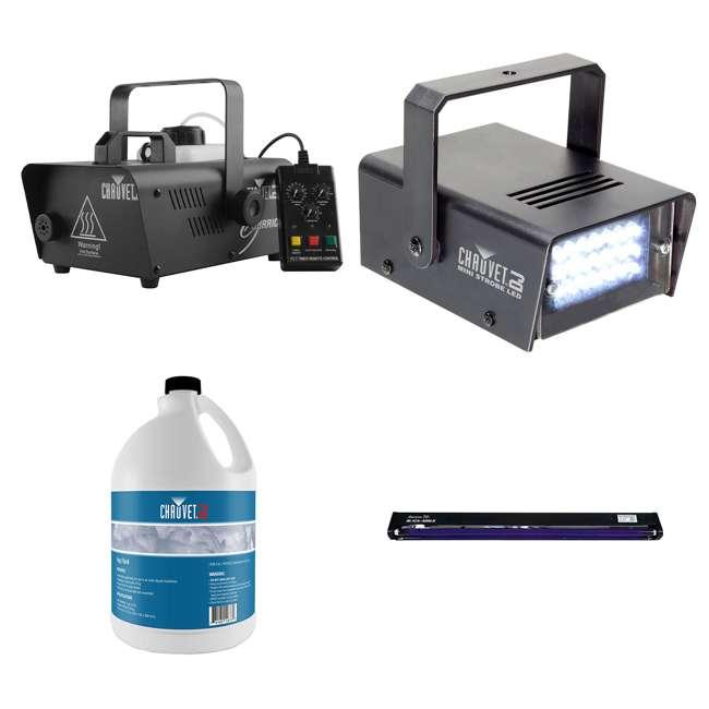 H1200 + FJU + MINISTROBE-LED + BLACK-48BLB CHAUVET DJ Hurricane Fog Machine + Fog Juice + Mini Strobe Light + Black Light