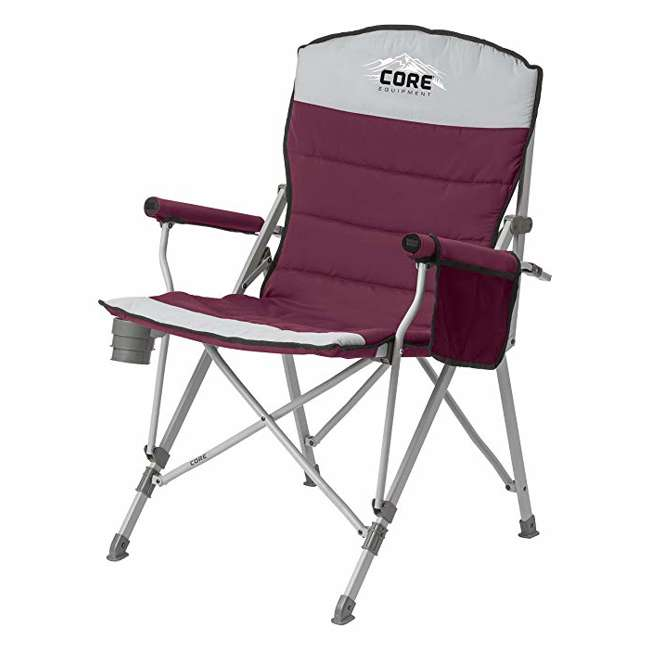 4 x CORE-40070-U-A CORE  Padded Hard Arm Chair with Carry Bag,  Gray   |   (Open Box)   (4 Pack)