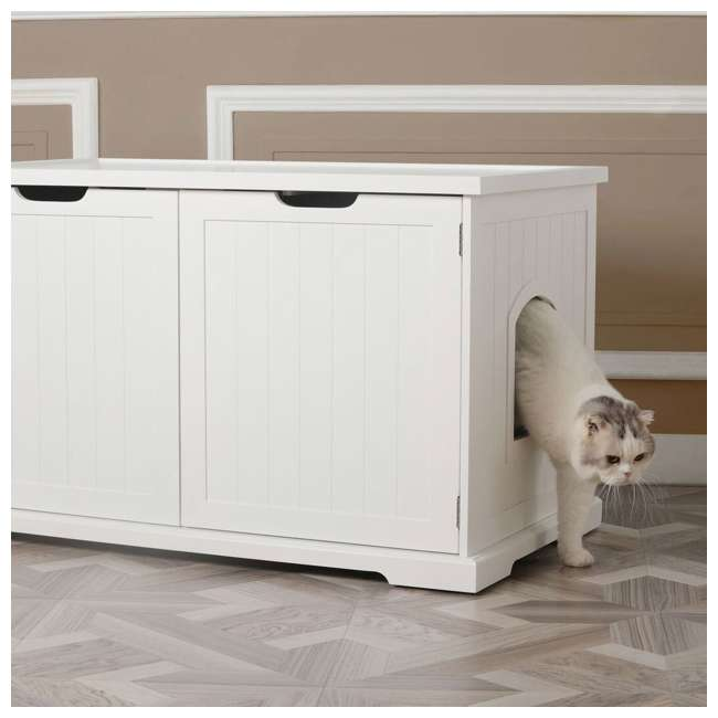 MPS010-U-D Merry Products Bench with Enclosed Cat Litter Washroom Box, White (Damaged) 2