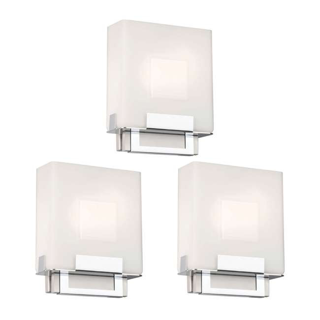 3 x PLC-F544336E1 Phillips Forecast Square Bathroom Light, Satin Nickel (3 Pack)