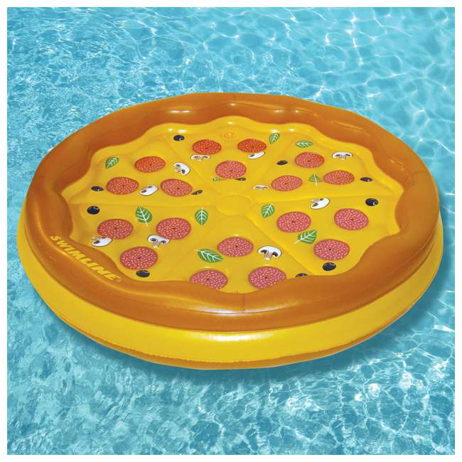 4 x 90647 Swimline Inflatable Personal Pizza Island Pool Float (4 Pack) 3