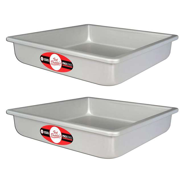 PSQ-16162 Fat Daddio's Anodized Aluminum Square Cake Pan, 16 x 16 x 2 Inch (2 Pack)