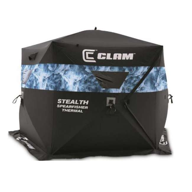 CLAM-10947 Clam 10947 Stealth Spearfisher Thermal 9 Foot Pop Up Ice Fishing Shelter, Black