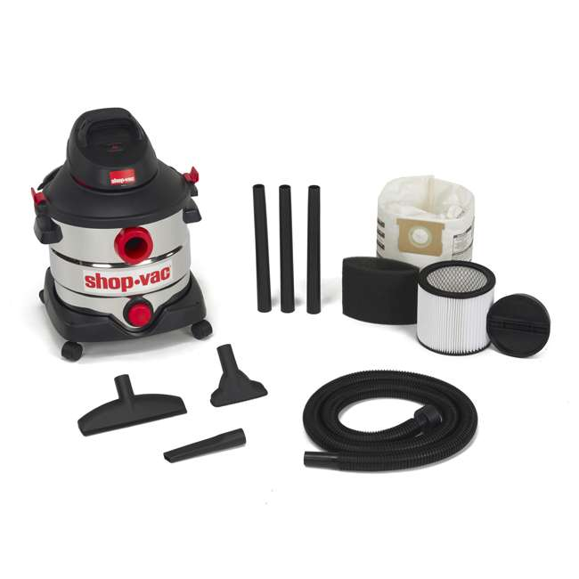 5989400 Shop Vac Stainless Steel Portable 8 Gallon Wet Dry Vacuum Floor Cleaner & Blower
