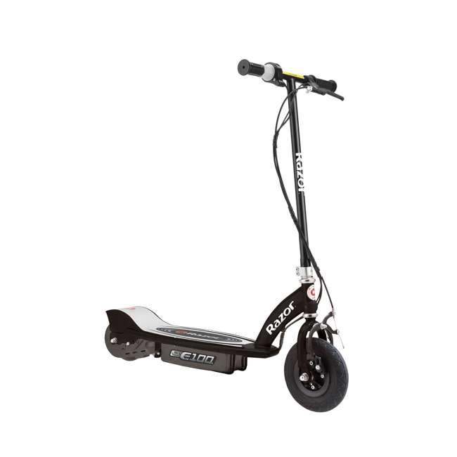 13110097 + 97783 + 96784 Razor E100 Motorized Black Electric Scooter w/ Pink Helmet & Deluxe Safety Set 1