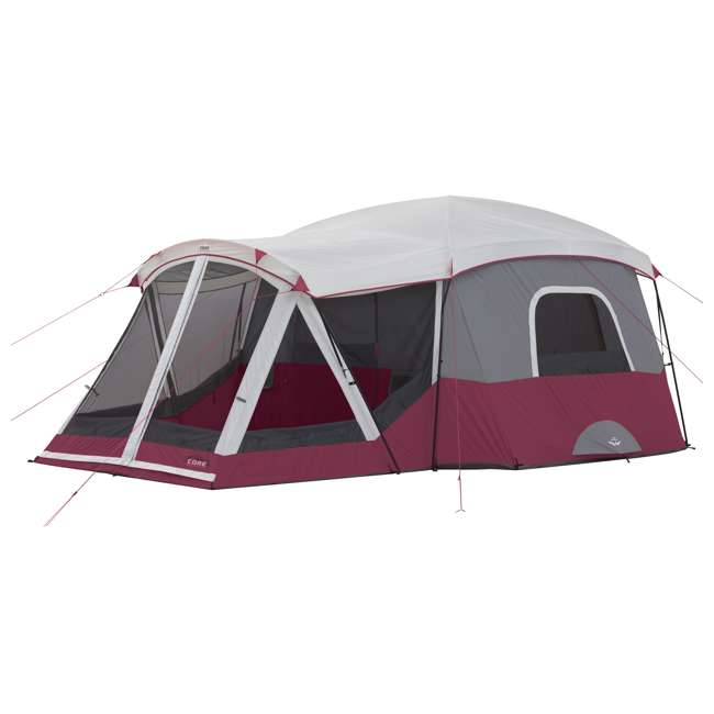CORE-40072-U-A CORE 40072 11-Person Family Camping Cabin Tent with Screen Room, Red (Open Box)