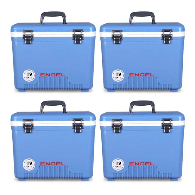 4 x UC19B Engel 19-Quart Dry Box Cooler with Shoulder Strap, Arctic Blue (4 Pack)