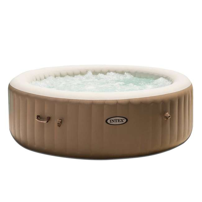 28407E + QLC-14888 Intex Pure Spa 6-Person Inflatable Portable Bubble Jet Hot Tub with Chemical Kit 1