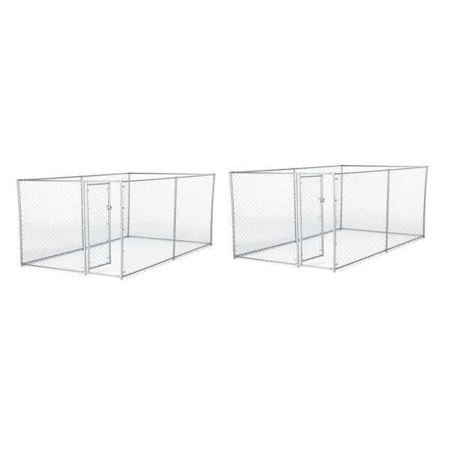 CL-41028EZ Lucky Dog 10 x 5 x 4 Foot Chain Link Dog Kennel Enclosure (2 Pack)