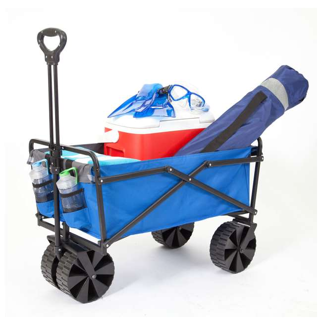 SUW-400-BLUE-GRAY-U-B Seina Manual 150 Pound Steel Frame Folding Cart Beach Wagon, Blue/Gray (Used) 1