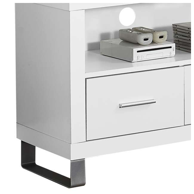 VM-2518 Monarch Contemporary Entertainment Center TV Stand w/ Storage, White (2 Pack) 3