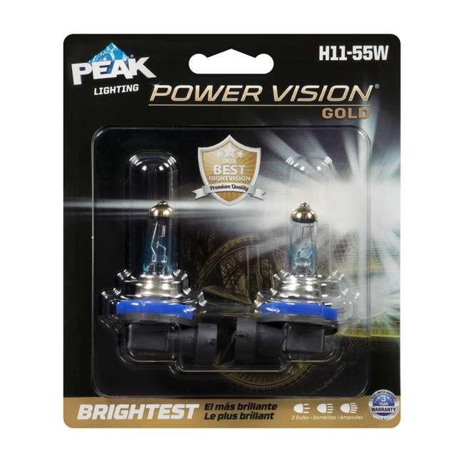 H11-55WPVG-2BPP Peak Power Vision Gold H11 55W Bright Halogen Headlight, 2 Pack