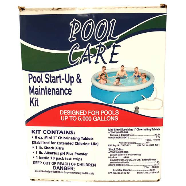 QLC-42001 + 28211EH Intex 12' x 2.5' Above Ground Swimming Pool + Qualco Swimming Pool Chemical Kit 2