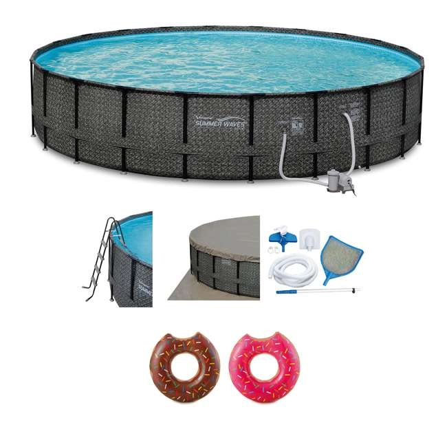 P4A02252B167 + 2 x K10427000167 Summer Waves 22 Ft Above Ground Pool Set + Giant Donut Inflatable Float (2 Pack)