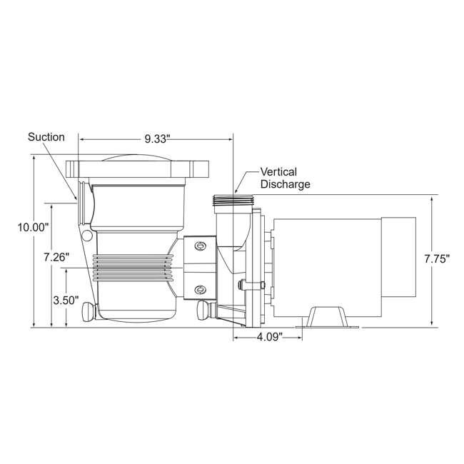 347991 Pentair 347991 OptiFlo Horizontal 1HP 115V 2 Speed Above Ground Pool Pump & Cord 3