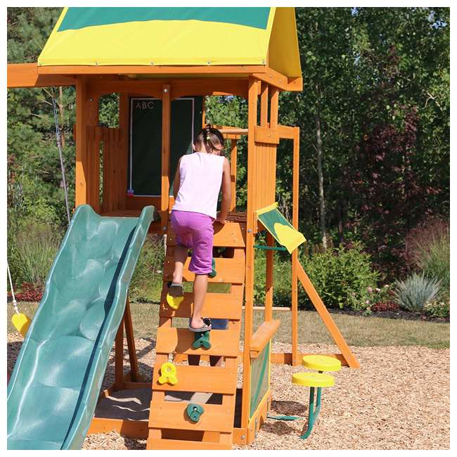 KDK-F23210C Kidkraft Brightside Wooden Cedar Discovery Swing Set/ Playset with Climbing Wall 3