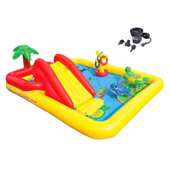 57454EP + 66619E Intex Ocean Play Center Kids Inflatable Wading Pool with Quick Fill Air Pump
