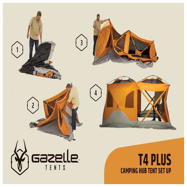 GAZL-26800-U-B Gazelle Tents T4 Plus Outdoor Pop Up 8 Person Hub Tent with Screen Room, Orange 1