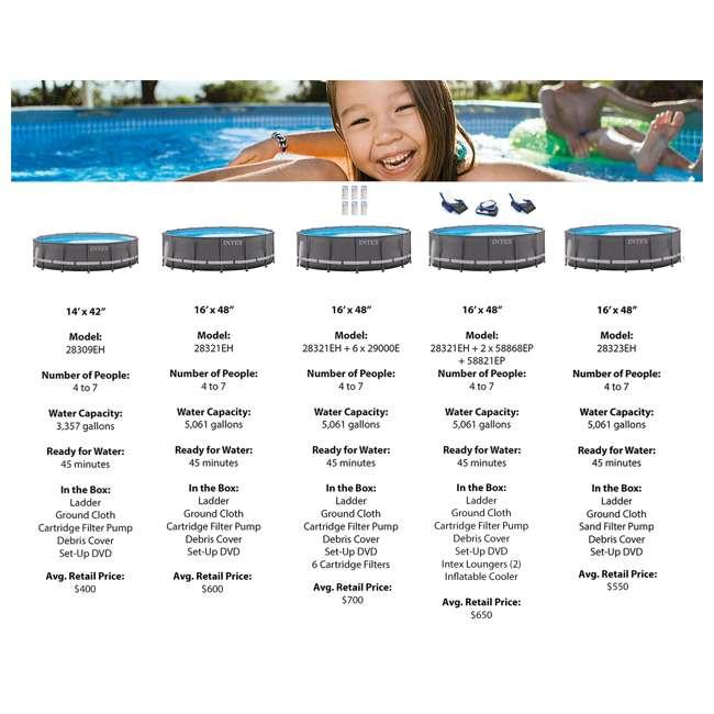 "28323EH Intex 16' x 48"" Ultra Frame Swimming Pool Set & 1200 GPH Sand Filter Pump 5"