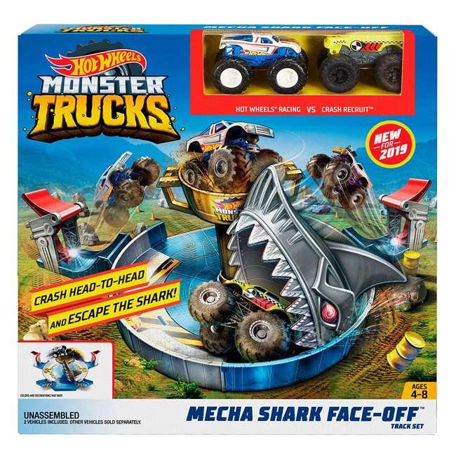 FYK14 Hot Wheels FYK14 Monster Trucks Mecha Shark Face Off Car Play Set with 2 Trucks 8