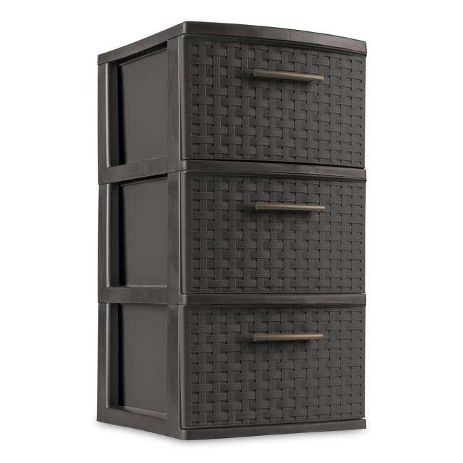 26306P02-U-A Sterilite 3 Drawer Wicker Weave Decorative Storage Tower (Open Box) (2 Pack) 1