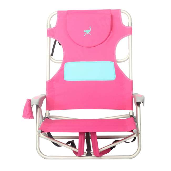 LCCOYB-2000P Ostrich Outdoor Beach Ladies Comfort and On-Your-Back Backpack Beach Chair, Pink 1
