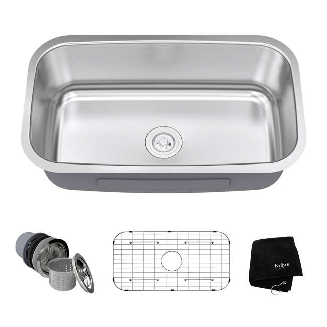 KBU14-OB Kraus 31-Inch Rounded Undermount Stainless Steel Kitchen Sink (Open Box)