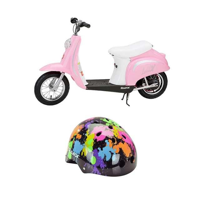 15130610 + 97913 Razor Pocket Mod Miniature Electric Retro Scooter + Youth Multi Sport Helmet